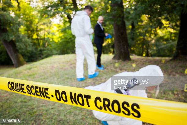 crime scene in the woods - more dead cops stock pictures, royalty-free photos & images