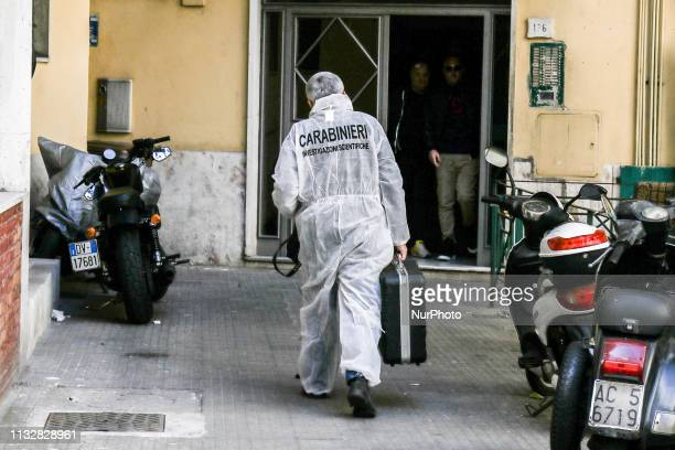Crime scene investigation of Stefania Fragliasso a 76yearold woman was found dead in her bound and gagged bed at home in Naples Italy on 25 March 2019