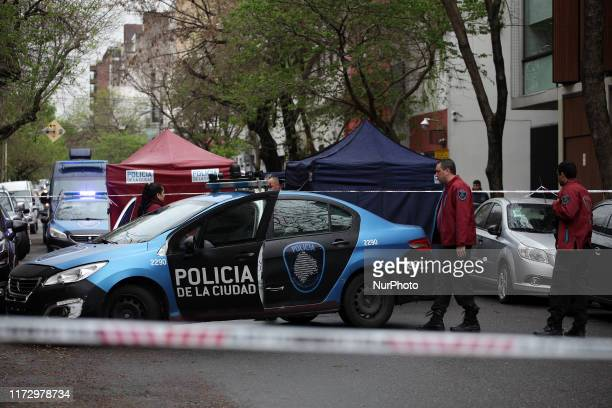 Crime scene investigation team member on 1st October 2019 in Buenos Aires neighborhood of Villa Crespo Agentina A man attacked two policemen with a...