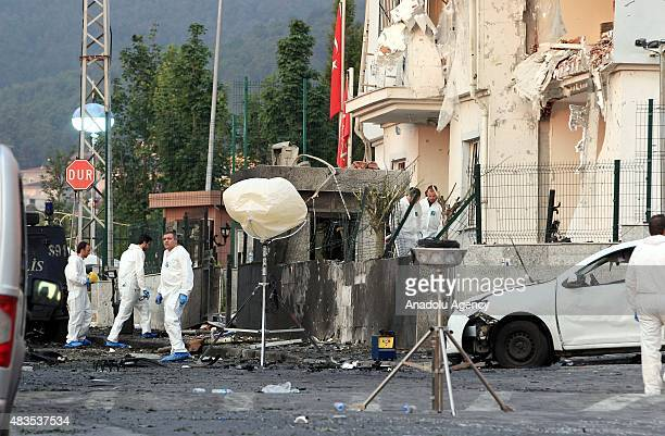 Crime Scene Investigation units inspects the crime scene after a car bomb attack on a police station in Sultanbeyli District of Istanbul Turkey on...