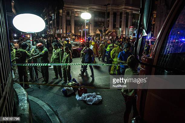 Crime scene is seen after a bomb exploded outside a religious shrine in central Bangkok, Thailand on August 17, 2015. An explosion at Erawan Shrine,...