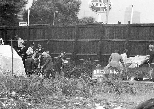 Crime Scene Manchester where the body of murder victim Wanda Skala is recovered from a building site in Manchester July 1975 Wanda Skala was killed...