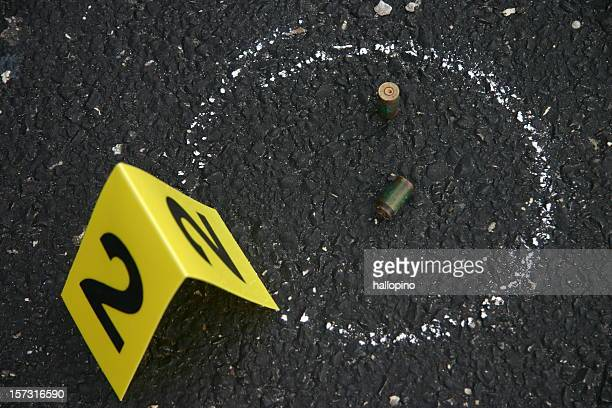 Crime scene number and chalk outline