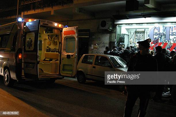 A crime scene of a man stabbed to death in the province of Naples The victim is about 40 years old native of Georgia died after being hit by a...