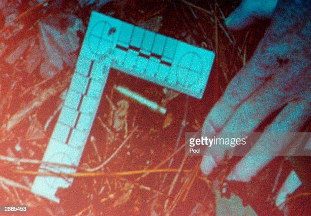 Crime scene photograph of a rifle cartridge found at the scene of the shooting of Jeffery hopper in Ashland, Virginia, is seen on a screen during the...