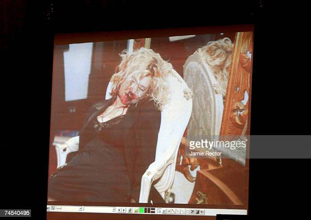 Crime scene photograph of actress Lana Clarkson is shown during the murder trial of music producer Phil Spector June 11, 2007 in Los Angeles,...