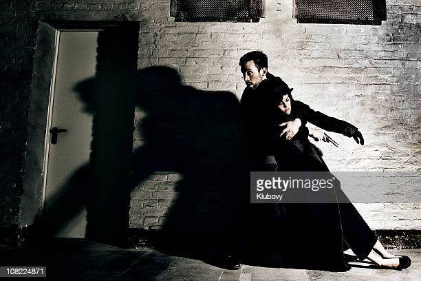 crime scene - dead gangster stock photos and pictures