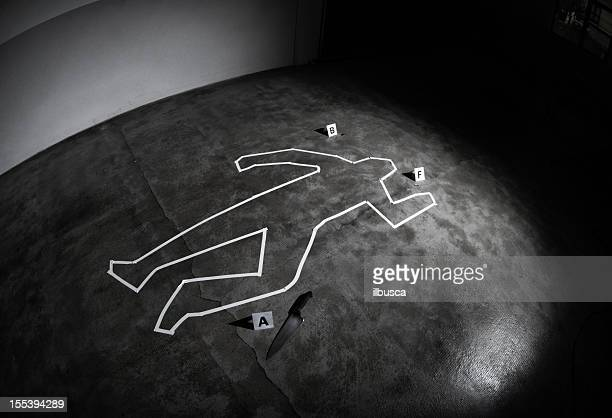 crime scene - dead body stockfoto's en -beelden