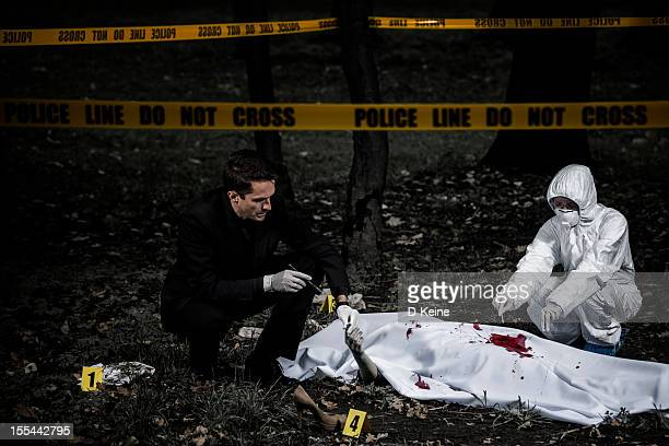 crime scene - dead female bodies stockfoto's en -beelden