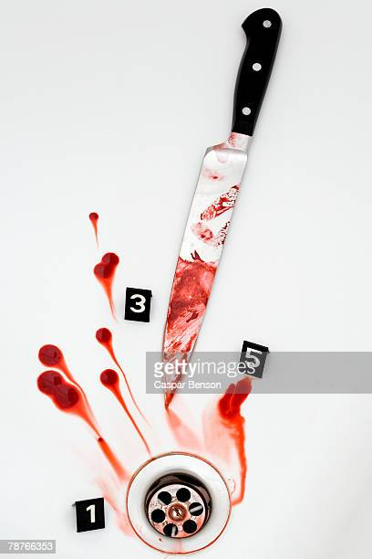 a crime scene - blood in sink stock pictures, royalty-free photos & images