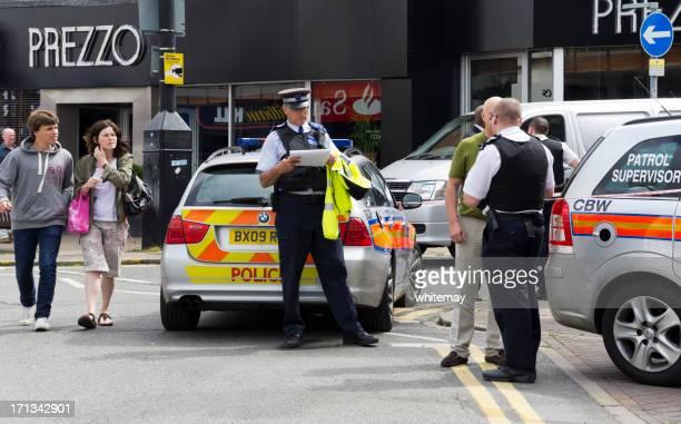 Crime scene - police investigating a robbery