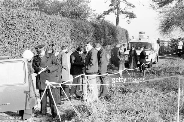 Crime Scene Police Investigation and Interviews at footpath area known locally as the Black Pad in Narborough Leicestershire where schoolgirl Lynda...