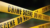 Crime Scene Tape Barrier In Front Of Defocused Background