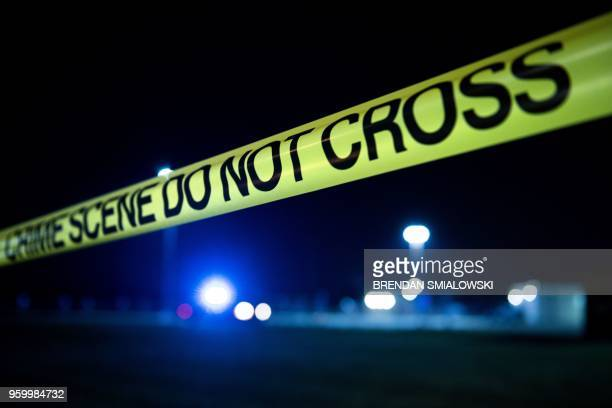 Crime scene tape is seen after a mass shooting at Santa Fe High School May 18 2018 in Santa Fe Texas Ten people mostly students were killed when a...