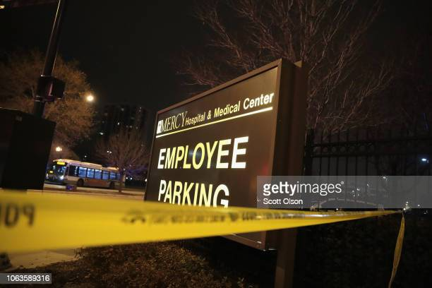 Crime scene tape secures an area around Mercy Hospital after a gunman opened fire on November 19 2018 in Chicago Illinois A police officer the gunman...