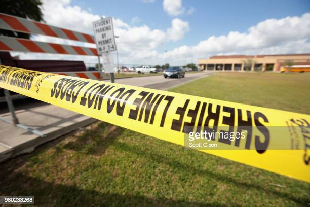 Crime scene tape surrounds Santa Fe High School on May 19 2018 in Santa Fe Texas Yesterday morning 17yearold student Dimitrios Pagourtzis entered the...