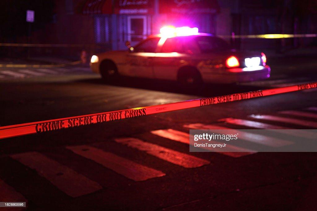 Crime Scene with Police Car : Stock Photo