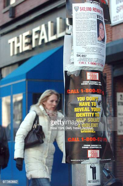 Crime Stoppers posters asking for tips on information regarding the murder of coed Imette St Guillen near the The Falls bar and restaurant in Soho