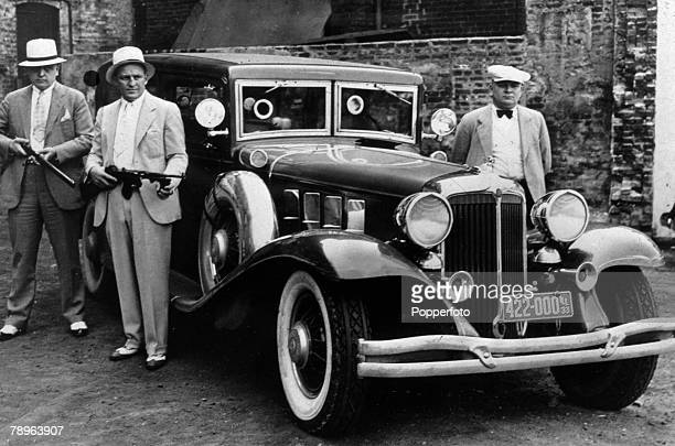 Crime USA The Prohibition Years pic circa 1930 Chicago Illinois police armed with tommy guns and using a heavily armoured car with bullet proof glass