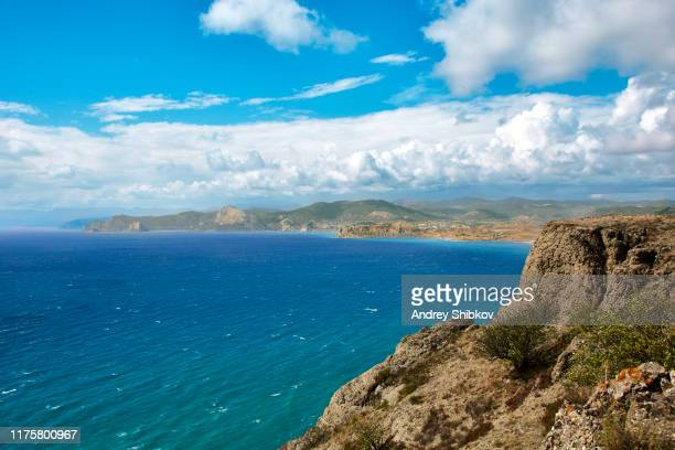 crimean summer landscape under clouds in journey - crimea stock pictures, royalty-free photos & images