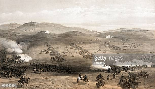 Crimean War : 'Charge of the light cavalry brigade, 25th Oct. 1854, under Major General the Earl of Cardigan. Lithograph.