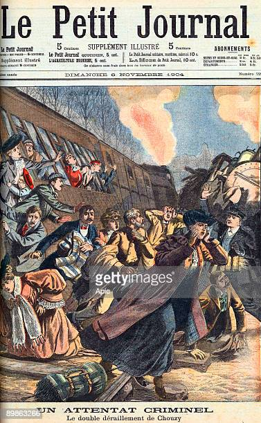 A criminal attack derailment of Chouzy front page of newspaper Petit Journal november 6 1904