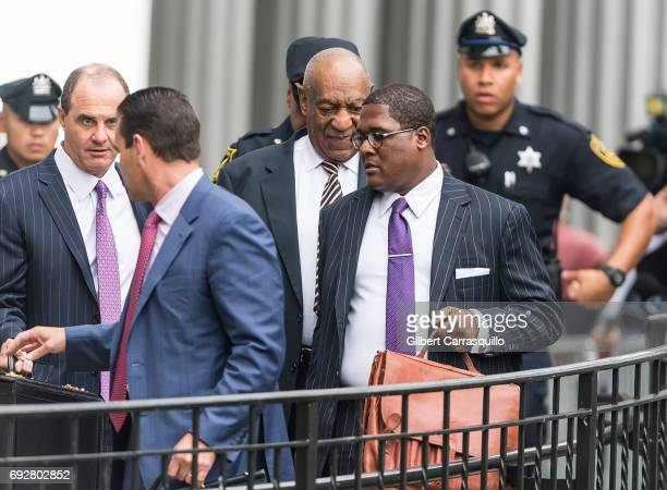 Criminal defense attorney Brian McMonagle and Actor Bill Cosby are seen leaving the first day of Bill Cosby court trial at Montgomery County...