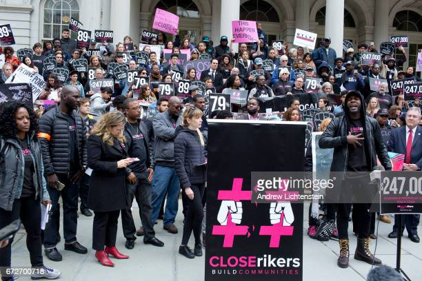 Criminal justice reform activists hold a rally on the steps of City Hall to demand that Mayor Bill DeBlasio speed up his plan to close Rikers Island...