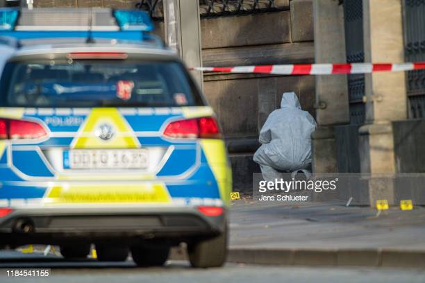 Criminal police investigate the environment outside the Residenzschloss palace that houses the Gruenes Gewoelbe collection of treasures on November...