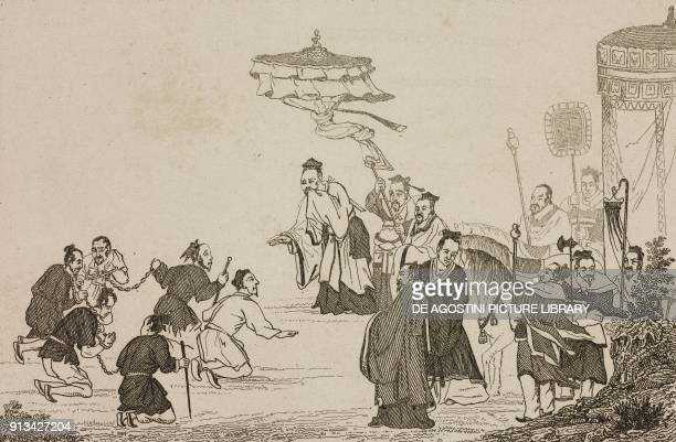 Criminals being pardoned by Emperor Yu, China, engraving from Chine, ou, Description historique, geographique et litteraire de ce vaste empire,...