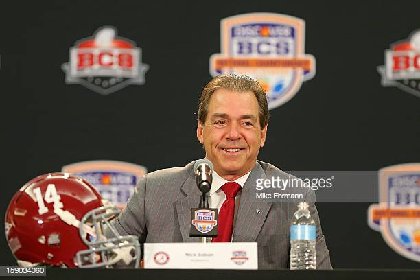 Crimson Tide head coach Nick Saban spreaks with members of the media during the Discover BCS National Championship Head Coaches Press Conference on...