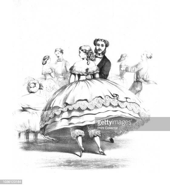 Crinoline in the Ball Room Valse Ala Mode My Dear Tiney is Fretting exceedingly at being kept Solitary so long' circa 1859 Victorian couple dancing...