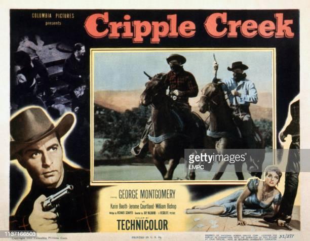Cripple Creek, lobbycard, George Montgomery , Karin Booth , 1952.