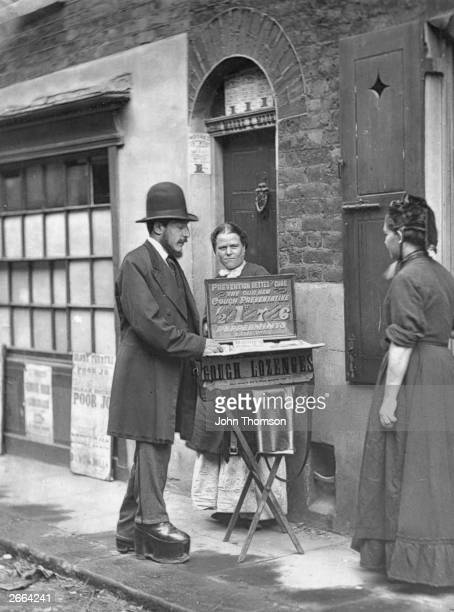 A crippled street doctor selling medicines peppermints Herbal Pills and lozenges Original Artwork From 'Street Life In London' by John Thomson and...