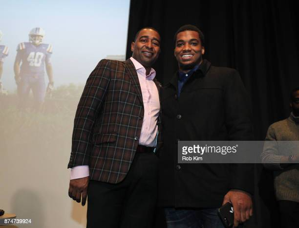 Cris Carter and LaMontre Harvey attend 'Magnify' Documentary Series Screening at The Whitby Screening Room on November 15 2017 in New York City
