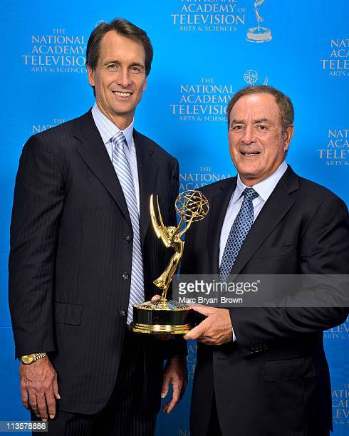Cris Collinsworth and Al Michaels attend the 32nd annual Sport Emmy Awards at Frederick P Rose Hall Jazz at Lincoln Center on May 2 2011 in New York...