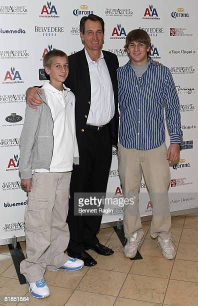 Cris Collinsworth and sons Jack Collinsworth and Austin Collinsworth attend the 2008 Saturday Night Spectacular at Super Bowl XVII held at The...