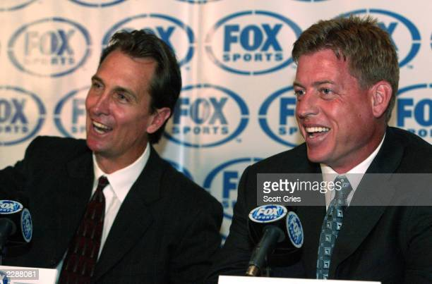 Cris Collinsworth on left and Troy Aikman during a press conference to announce the new NFL on Fox lead broadcast team at the News Corp Building in...
