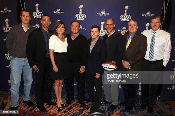 NBC Cris Collinsworth Rodney Harrison Michele Tafoya Al Michaels Bob Costas Tony Dungy Peter King and Dan Patrick pose for a group photo during the...