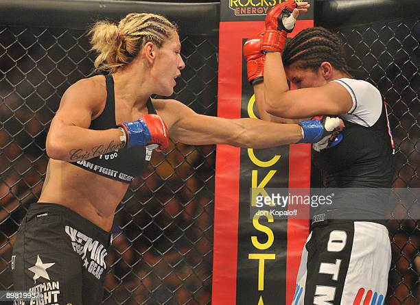 Cris Cyborg battles Gina Carano during their Middleweight Championship fight at Stikeforce Carano vs Cyborg on August 15 2009 in San Jose California