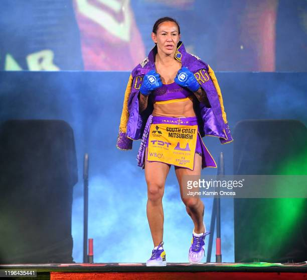 Cris Cyborg enters the arena for her their featherweight world title fight against Julia Budd at The Forum on January 25 2020 in Inglewood California...