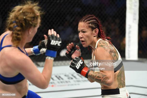 Cris Cyborg faces Tonya Evinger in their UFC women's featherweight championship bout during the UFC 214 event inside the Honda Center on July 29 2017...