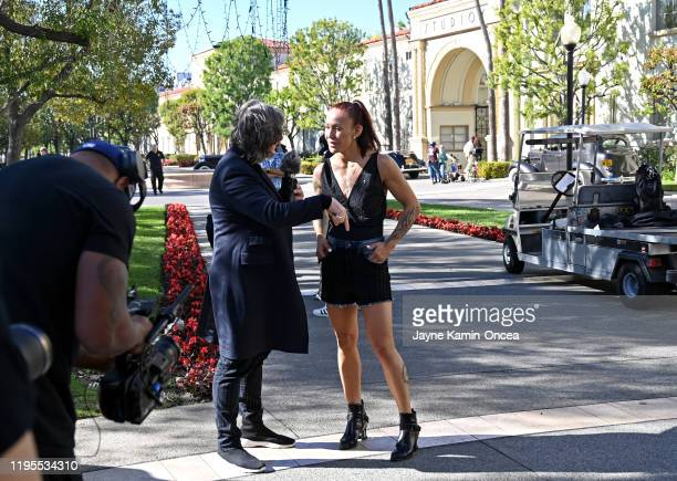 Cris Cyborg is interviewed in the Paramount Studios lot during media day for her upcoming Bellator women's featherweight world title fight against...