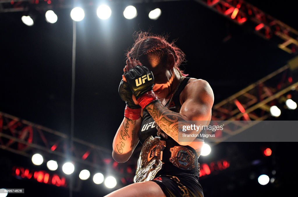 Cris Cyborg of Brazil celebrates after her victory over Holly Holm in their women's featherweight bout during the UFC 219 event inside T-Mobile Arena on December 30, 2017 in Las Vegas, Nevada.