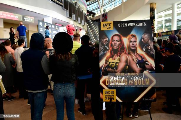 Cris Cyborg of Brazil holds an open training session for fans and media during the UFC 219 Open Workouts inside TMobile Arena on December 28 2017 in...