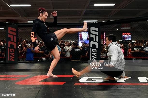 Cris Cyborg of Brazil holds an open workout session for fans and media at UFC GYM La Mirada on July 27 2017 in La Mirada California