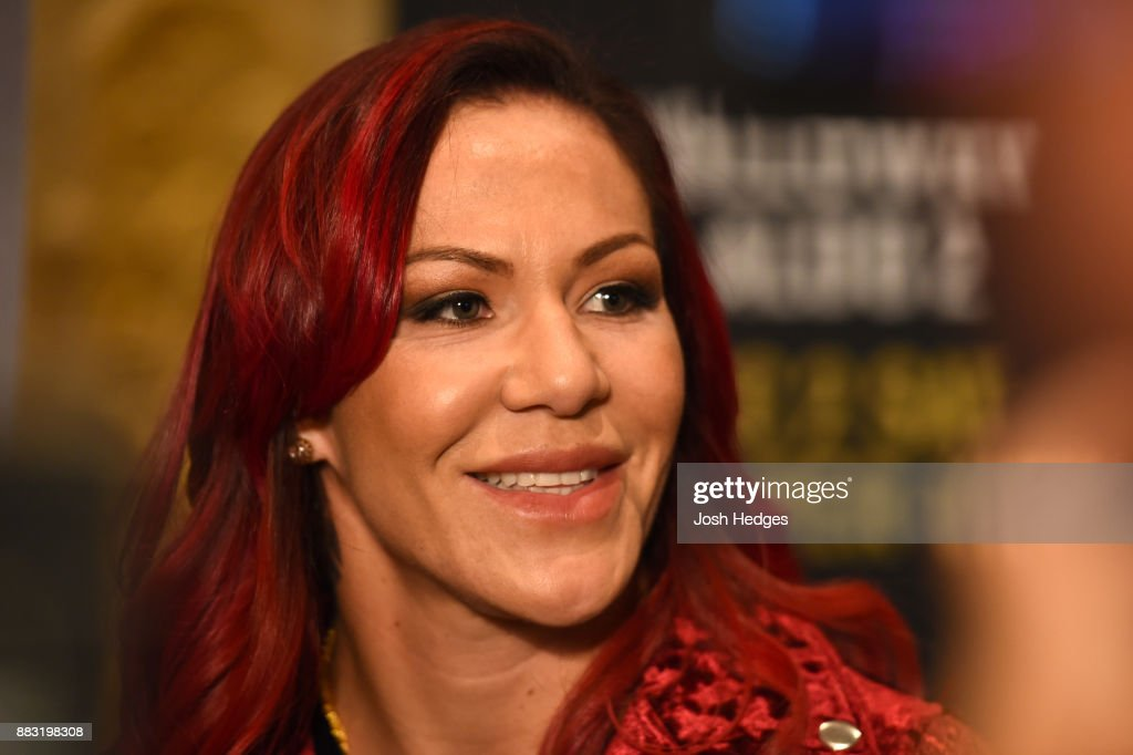 Cris Cyborg of Brazil interacts with media ahead of her UFC 219 bout against Holly Holm during the UFC 218 Ultimate Media Day at the DoubleTree Hotel on November 30, 2017 in Detroit, Michigan.