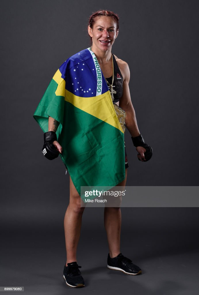 Cris Cyborg of Brazil poses for a portrait backstage after her victory over Holly Holm during the UFC 219 event inside T-Mobile Arena on December 30, 2017 in Las Vegas, Nevada.