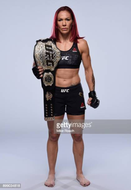 Cris Cyborg of Brazil poses for a portrait during a UFC photo session on December 26 2017 in Las Vegas Nevada