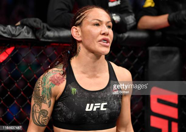 Cris Cyborg of Brazil prepares to fight Felicia Spencer of Canada in their featherweight bout during the UFC 240 event at Rogers Place on July 27...